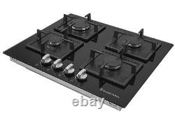 Russell Hobbs RH60GH402B Glass hob with 4 Gas Burners Manual Dial Control