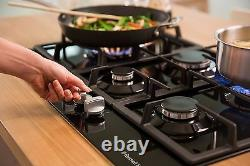 Russell Hobbs RH75GH601B Glass hob with 5 Gas Burners Manual Dial Control