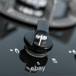 SIA AMZBGH30BL 30cm Black Gas On Glass Domino Hob Cast Iron Supports LPG Kit