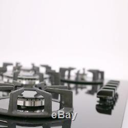 SIA BGH90BL 90cm Black 5 Burner Gas On Glass Hob Cast Iron Supports LPG Kit