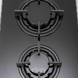 SIA GHG301BL 30cm Black 2 Burner Gas on Glass Domino Hob & Cast Iron Stands