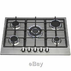 SIA R6 70cm Stainless Steel 5 Burner Gas Hob With Cast Iron Pan Supports And FFD