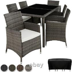 Set Rattan Garden Furniture 6 Chairs Table Dining Roomo Patio Outdoor Wicker New