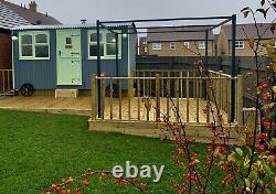 Shepherd Huts, luxury bedroom, kitchen, shower room- wood burner