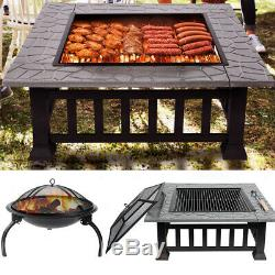 Square / Round BBQ Fire Pit Brazier Table Camping Party Barbecue Stove Grill