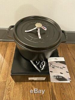 Staub Cast Iron 7 Qt Round Cocotte, Dutch Oven, Matte Black, NIB $514 RETAIL