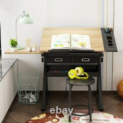 Tiltable Drawing Board Table with Stool Set Art Craft Adjustable Drafting Desk