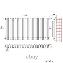 Traditional 3 Column Radiator Anthracite Horizontal Cast Iron Style Rad 600x1190
