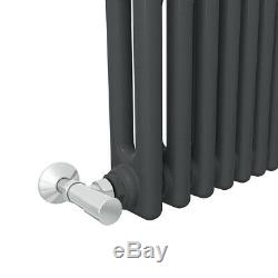 Traditional Cast Iron Style Anthracite 2 Column Horizontal Radiator 315x1010mm