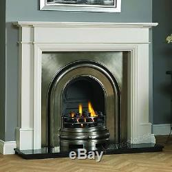 Traditional Gas White Surround Black Granite Cast Iron Fire Fireplace Suite 56