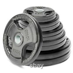 Tri-grip Weight Plates Lifting Weights Gym Home Rubber Encased 2 Olympic