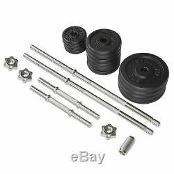 Viavito 50kg Cast Iron Standard Barbell & Dumbbell Weight Set with Collars