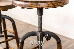 Vintage Industrial Style Lab Stool Adjustable Oak Stool Bar Stool