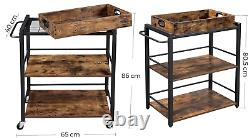 Vintage Industrial Trolley Serving Drinks Cart Wine Tray Shelves Storage Table