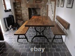Vintage Industrial style reclaimed 6ft pine dining table on cast iron legs