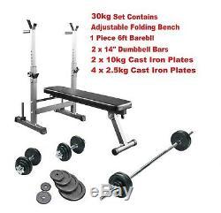 Weight Training Bench Adjustable Folding 30kg CAST IRON Weights & Bar