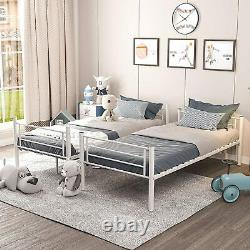 White Bunk Bed Single Metal Bunk Beds Frame2 x 3FT Convertible Into 2 Individual