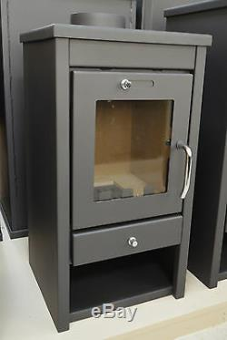 Wood Burning Stove 7 kW Solid Fuel Fireplace Log Burner Small Size BImSchV2
