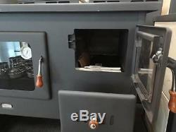 Wood Burning Stove Cast Iron Top Cooker Solid Fuel Oven & Boiler 16kW LEFT FLUE