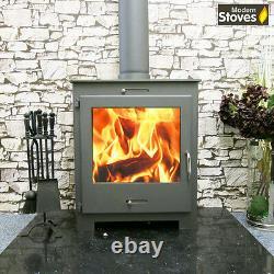 Wood Burning Stove Contemporary 18kw iStove Lux Wood Burner Multifuel GREY