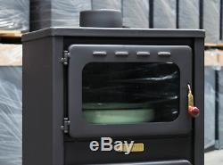Wood Burning Stove & Oven Steel Lid Log Burner Solid Fuel Cooker 11kW fireplace
