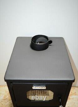 Wood burning stove with Steel Lid 8 kw Heating Power Log Burner Fireplace Kupro