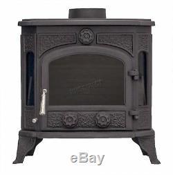 Woodburner Cast Iron Log Burner Multifuel Wood Burning Stove 12.8KW TR-C12 Black